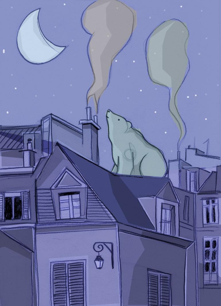 Orso sui tetti di Parigi